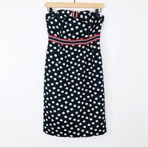 Anthropologie Maeve polka dot strapless dress